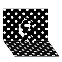 Black And White Polka Dots Ribbon 3d Greeting Card (7x5)