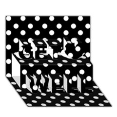 Black And White Polka Dots Get Well 3D Greeting Card (7x5)