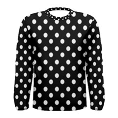 Black And White Polka Dots Men s Long Sleeve T Shirts
