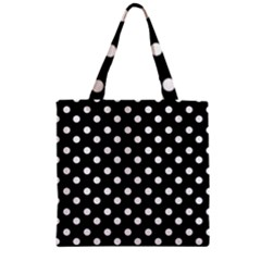 Black And White Polka Dots Zipper Grocery Tote Bags