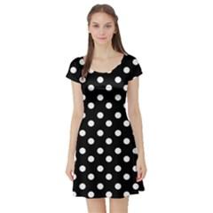 Black And White Polka Dots Short Sleeve Skater Dresses