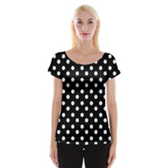Black And White Polka Dots Women s Cap Sleeve Top