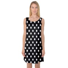 Black And White Polka Dots Sleeveless Satin Nightdresses