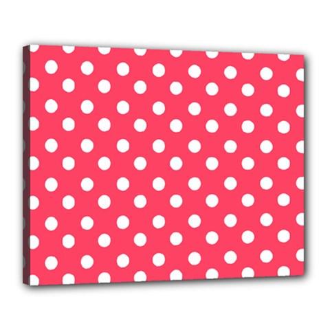 Hot Pink Polka Dots Canvas 20  X 16