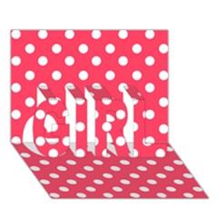 Hot Pink Polka Dots GIRL 3D Greeting Card (7x5)