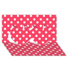 Hot Pink Polka Dots Twin Hearts 3D Greeting Card (8x4)