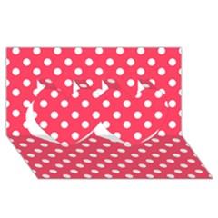 Hot Pink Polka Dots Twin Hearts 3d Greeting Card (8x4)