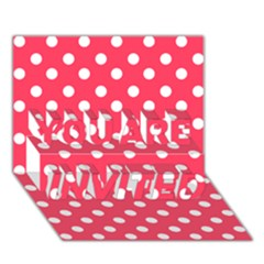 Hot Pink Polka Dots You Are Invited 3d Greeting Card (7x5)