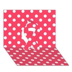 Hot Pink Polka Dots Ribbon 3D Greeting Card (7x5)