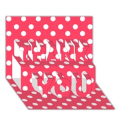 Hot Pink Polka Dots THANK YOU 3D Greeting Card (7x5)