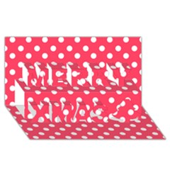 Hot Pink Polka Dots Merry Xmas 3D Greeting Card (8x4)