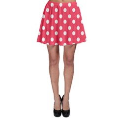 Hot Pink Polka Dots Skater Skirts