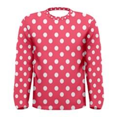 Hot Pink Polka Dots Men s Long Sleeve T-shirts