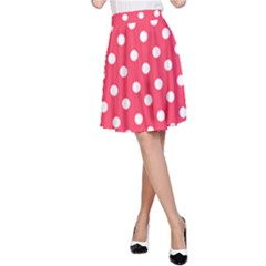 Hot Pink Polka Dots A-Line Skirts