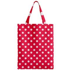 Hot Pink Polka Dots Zipper Classic Tote Bags
