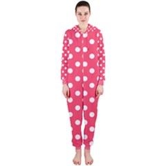 Hot Pink Polka Dots Hooded Jumpsuit (ladies)