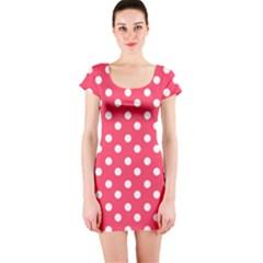 Hot Pink Polka Dots Short Sleeve Bodycon Dresses