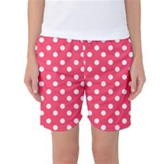 Hot Pink Polka Dots Women s Basketball Shorts
