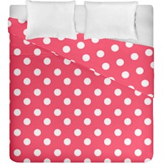 Hot Pink Polka Dots Duvet Cover (king Size)