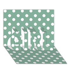 Mint Green Polka Dots GIRL 3D Greeting Card (7x5)