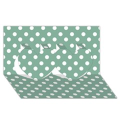 Mint Green Polka Dots Twin Hearts 3d Greeting Card (8x4)