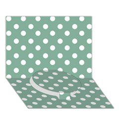 Mint Green Polka Dots Circle Bottom 3d Greeting Card (7x5)