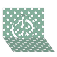 Mint Green Polka Dots Peace Sign 3d Greeting Card (7x5)