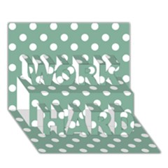 Mint Green Polka Dots WORK HARD 3D Greeting Card (7x5)
