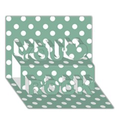 Mint Green Polka Dots You Rock 3D Greeting Card (7x5)