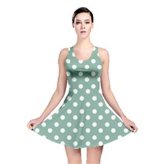 Mint Green Polka Dots Reversible Skater Dresses