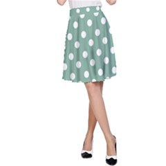 Mint Green Polka Dots A-Line Skirts
