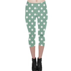 Mint Green Polka Dots Capri Leggings