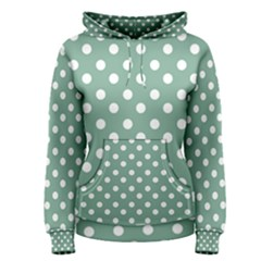Mint Green Polka Dots Women s Pullover Hoodies