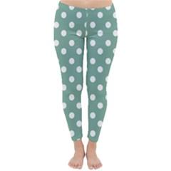 Mint Green Polka Dots Winter Leggings