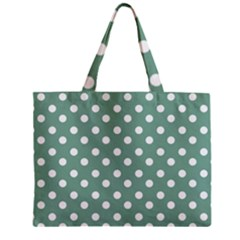 Mint Green Polka Dots Zipper Tiny Tote Bags