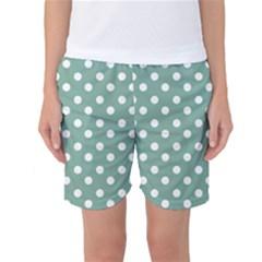 Mint Green Polka Dots Women s Basketball Shorts
