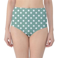 Mint Green Polka Dots High-Waist Bikini Bottoms