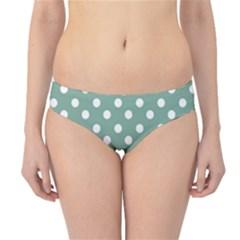 Mint Green Polka Dots Hipster Bikini Bottoms
