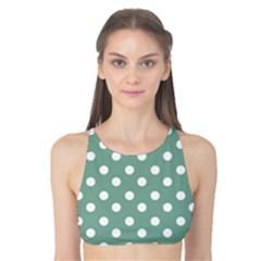 Mint Green Polka Dots Tank Bikini Top