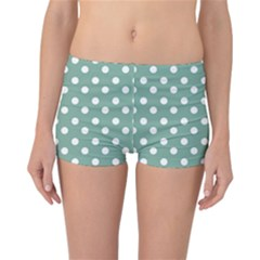 Mint Green Polka Dots Reversible Boyleg Bikini Bottoms