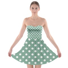 Mint Green Polka Dots Strapless Bra Top Dress