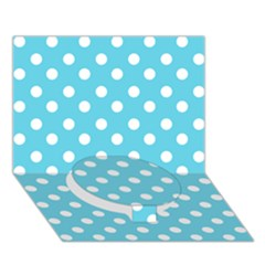 Sky Blue Polka Dots Circle Bottom 3D Greeting Card (7x5)