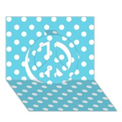 Sky Blue Polka Dots Peace Sign 3D Greeting Card (7x5)