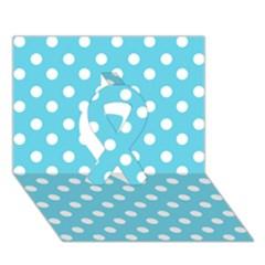Sky Blue Polka Dots Ribbon 3d Greeting Card (7x5)