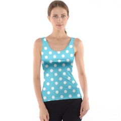 Sky Blue Polka Dots Tank Tops