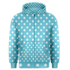Sky Blue Polka Dots Men s Zipper Hoodies