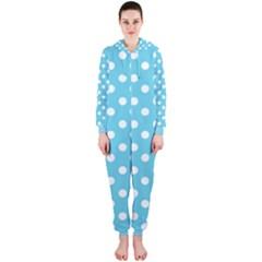 Sky Blue Polka Dots Hooded Jumpsuit (ladies)