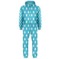 Sky Blue Polka Dots Hooded Jumpsuit (men)