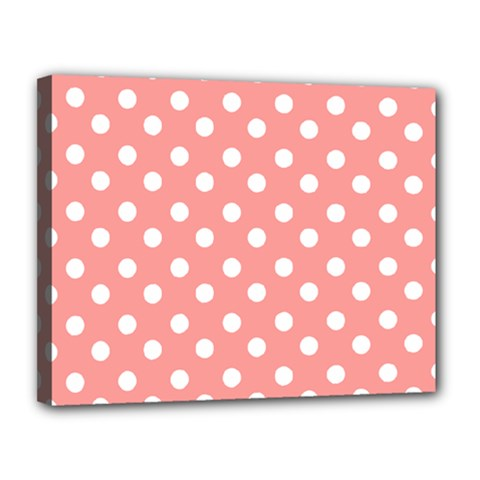 Coral And White Polka Dots Canvas 14  X 11