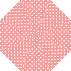 Coral And White Polka Dots Folding Umbrellas